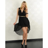 ELEGANT CHIFFON EVENING DRESS WITH BELT BLACK