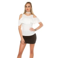 ELEGANTES COLD-SHOULDER DAMEN-SHIRT MIT VOLANT CREMEWEISS