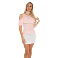 ELEGANTES COLD-SHOULDER DAMEN-SHIRT MIT VOLANT ROSA