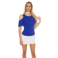 ELEGANTES COLD-SHOULDER DAMEN-SHIRT MIT VOLANT ROYAL BLAU