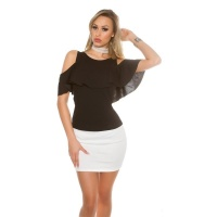ELEGANT COLD SHOULDER LADIES SHIRT WITH FLOUNCE BLACK
