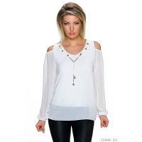 ELEGANT LONG-SLEEVED COLD SHOULDER CHIFFON SHIRT WHITE