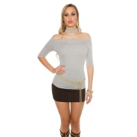 ELEGANT SHORT-SLEEVED LADIES SHIRT WITH CHOKER COLLAR GREY
