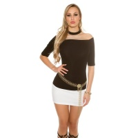 ELEGANT SHORT-SLEEVED LADIES SHIRT WITH CHOKER COLLAR BLACK