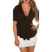 ELEGANT SHORT-SLEEVED LADIES SHIRT IN BABYDOLL STYLE BLACK