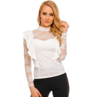 ELEGANT LADIES LONG-SLEEVED SHIRT WITH FLOUNCES AND LACE...