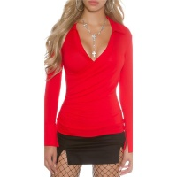 ELEGANT LONG-SLEEVED LADIES SHIRT WITH POLO COLLAR RED