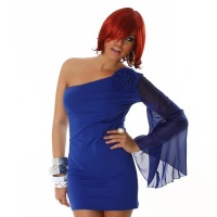 ELEGANT ONE-ARMED EVENING DRESS MINIDRESS BLUE