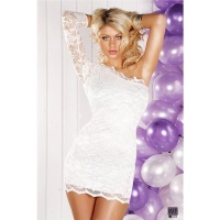 SEXY ONE-ARMED LACE EVENING DRESS MINIDRESS WHITE