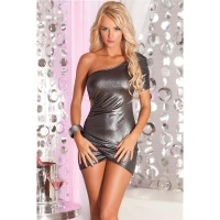 ELEGANT SHINING ONE-ARMED MINIDRESS PARTY DRESS SILVER