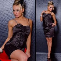 ELEGANT SATIN EVENING DRESS SHEATH DRESS ANTHRACITE