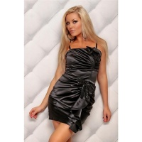 ELEGANT SATIN EVENING DRESS BLACK