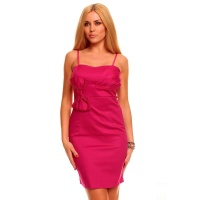 ELEGANT EVENING DRESS SHEATH DRESS WITH BOW FUCHSIA