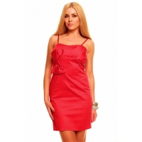 ELEGANT EVENING DRESS SHEATH DRESS WITH BOW RED