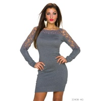 ELEGANT FINE-KNITTED LONG-SLEEVED MINIDRESS WITH LACE GREY Onesize (UK 8,10,12)