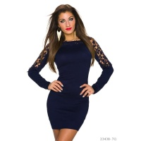 ELEGANT FINE-KNITTED LONG-SLEEVED MINIDRESS WITH LACE NAVY
