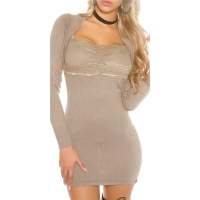 ELEGANT FINE-KNITTED MINIDRESS IN BOLERO-LOOK WITH LACE...