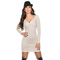ELEGANT FINE-KNITTED MINIDRESS/LONG SWEATER WITH RHINESTONES BEIGE Onesize (UK 8,10,12)