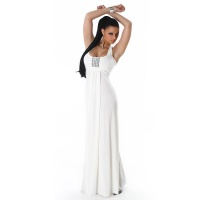 GLAMOROUS HALTERNECK EVEVING DRESS WITH RHINESTONES WHITE UK 8/10 (S/M)