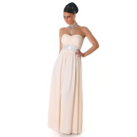 ELEGANT GLAMOUR CHIFFON EVENING DRESS WITH RHINESTONES BEIGE UK 10 (S)