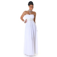 ELEGANT GLAMOUR CHIFFON EVENING DRESS WITH RHINESTONES WHITE