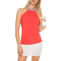 ELEGANTES GLAMOUR NECKHOLDER-TOP IN STRASS-OPTIK CORAL
