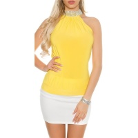 ELEGANT GLAMOUR HALTERNECK TOP IN RHINESTONE LOOK YELLOW