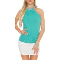 ELEGANT GLAMOUR HALTERNECK TOP IN RHINESTONE LOOK MINT GREEN