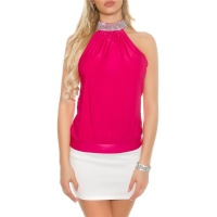 ELEGANTES GLAMOUR NECKHOLDER-TOP IN STRASS-OPTIK PINK