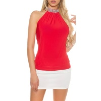 ELEGANT GLAMOUR HALTERNECK TOP IN RHINESTONE LOOK RED