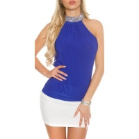 ELEGANT GLAMOUR HALTERNECK TOP IN RHINESTONE LOOK ROYAL BLUE