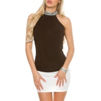 ELEGANT GLAMOUR HALTERNECK TOP IN RHINESTONE LOOK BLACK