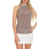 ELEGANTES GLAMOUR NECKHOLDER-TOP IN STRASS-OPTIK TAUPE