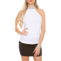 ELEGANT GLAMOUR HALTERNECK TOP IN RHINESTONE LOOK WHITE