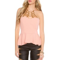 ELEGANT GLAMOUR HALTERNECK TOP WITH ORNAMENT APRICOT