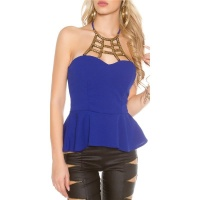 ELEGANT GLAMOUR HALTERNECK TOP WITH ORNAMENT ROYAL BLUE
