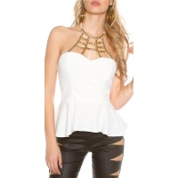 ELEGANT GLAMOUR HALTERNECK TOP WITH ORNAMENT WHITE
