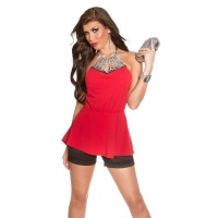ELEGANT GLAMOUR HALTERNECK TOP WITH RHINESTONES RED