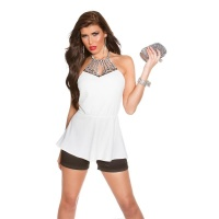 ELEGANT GLAMOUR HALTERNECK TOP WITH RHINESTONES WHITE