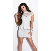 SEXY GLAMOUR EVENING MINIDRESS WITH PEPLUM CREAM