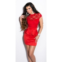 SEXY GLAMOUR EVENING MINIDRESS WITH PEPLUM RED