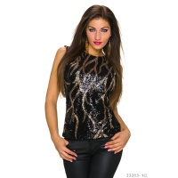 ELEGANT GLAMOUR SHIRT WITH SEQUINS BLACK/GOLD Onesize (UK 8,10,12)