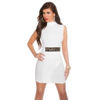 ELEGANT HIGH-NECKED SHEATH DRESS EVENING DRESS WHITE