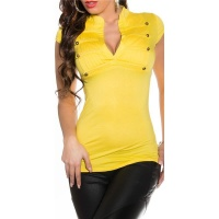 ELEGANT SHORT-SLEEVED SHIRT IN MILITARY-LOOK YELLOW Onesize (UK 8,10,12)