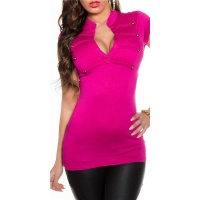 ELEGANT SHORT-SLEEVED SHIRT IN MILITARY-LOOK FUCHSIA Onesize (UK 8,10,12)
