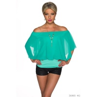 ELEGANT SHORT-SLEEVED SHIRT WITH CHIFFON INCL. NECKLACE...