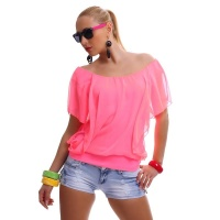 ELEGANT SHORT-SLEEVED SHIRT WITH CHIFFON NEON-FUCHSIA
