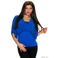 ELEGANT SHORT-SLEEVED SHIRT WITH CHIFFON ROYAL BLUE