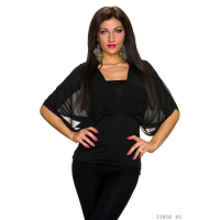 ELEGANT SHORT-SLEEVED SHIRT WITH CHIFFON BLACK Onesize (UK 8,10,12)