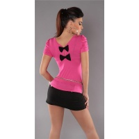 ELEGANT SHORT-SLEEVED SHIRT WITH BOWS FUCHSIA
